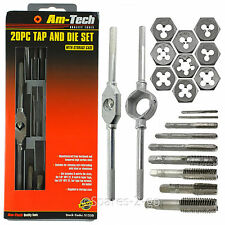 Am-Tech 20 Piece Tap & Die Mechanic Tool Kit Set Metric Carbon Steel Taper Taps