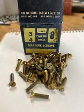 """New listing Vintage lot of (50) 8-32 x 1-3/4"""" Solid Brass Machine Screws Flat Head Slotted"""