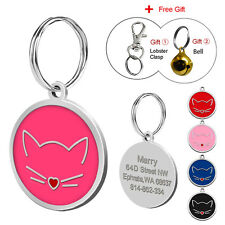 Round Custom Dog Cat Tags Engraved Pet Puppy Kitten ID Name Collar Tags & Bell