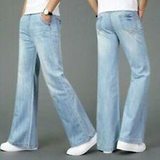 New ListingMen Bell Bottom Jeans 60s Retro Flared Denim Pants Retro Wide Leg Trouser Long