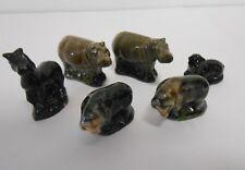 Black / Dark Grey Wade Whimsies - Set of 6 Collectable Animal Figurines