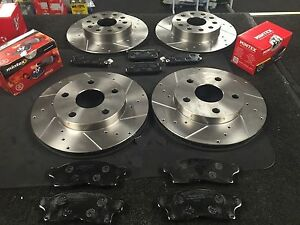 TOYOTA MR2 MK2 SW20 GT DRILLED GROOVED BRAKE DISC FRONT REAR MINTEX PADS