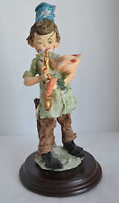 VTG Seymour Mann Young Clown Saxophone Signed 1986 Mounted Wood Figurine Statue