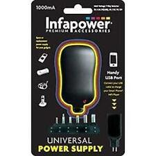 P002 Infapower 1000ma Universal Multi-voltage Power Supply USB Port 6 Tips Black