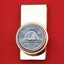 Canada 1988 Beaver On Rock 5 Cents Coin GP Solid Brass Pill Box Money Clip NOS