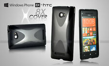 Black XCOVER GEL JELLY TPU CASE COVER FOR HTC 8X + Screen Protector A04
