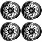 4x Moto Metal 16x8 MO985 Breakout Wheels Gloss Black Machined 5x5 5x127 -6mm