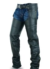 Highway Leather Lined Chaps Motorcycle Riding Bikers Chap Black SKU # HL12800SPT