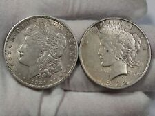2 US Silver Dollars: 1921 Morgan & 1922 Peace.  #29