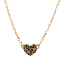 Lux Accessories Leopard Animal Print Pave Heart Pendant Chain Link Necklace