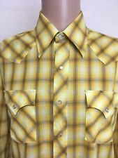 VTG 80s CHAMPION WESTERNS PEARL SNAP YELLOW Shadow PLAID WESTERN SHIRT L