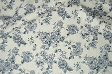 Floral Grey Rose Fabric  100% Cotton Material   Vintage / Roses / Flowers