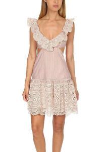 Zimmermann Meridian Stripe Frill Mini Cut Out Dress Size 0 RRP $595
