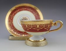 Vintage Bohemia Empire 24 K Gold Hand Decorated Tea Cup and Saucer