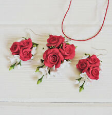 Red rose wedding pendant & EARRINGS SET HANDCRAFTED Fashion bridal polymer clay