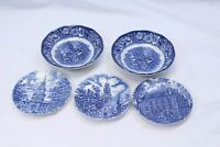 Liberty Blue Coaster Plates and Fruit Bowls Lot of 5
