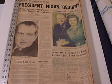 PRESIDENT NIXON RESIGNS, Aug. 9, 1974, Indianapolis Star