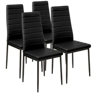 4 PCS Black Dining Chairs Set Padded Seat Metal Legs Kitchen Home Furniture New
