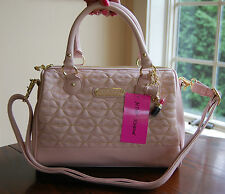 NWT Betsey Johnson Quilted Lips Barrel Satchel Blush Pink