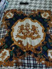 Ralph Lauren Polo Silk Scarf 35 X 35. Vintage Double Lion Crest. Euc