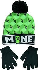 Minecraft Hat And Glove Set For Boys, Official Minecraft Merchandise Age 7 to 14