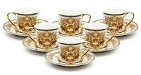 12 Piece Euro Porcelain Medusa Fine Bone China Espresso Cup Set - 24K Gold White