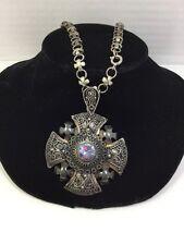 Alexandrite (real ?) Crusader Maltese Cross Sterling Silver (J83)