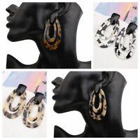 Women Geometric Dangle Drop Hook Acrylic Leopard Ear Stud Earrings Jewelry Gift