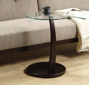 Monarch Specialities Accent Table - Cappuccino Bentwood With Tempered Glass