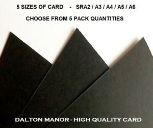 DALTON MANOR 170GM BLACK CARD IN 5 SIZES SRA2/A3/A4/A5/A6  AND 5 PACK SIZES