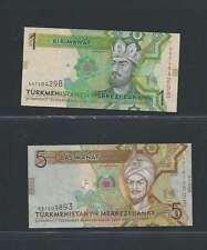 Turkménistan Lot de 2 billets différents  en état NEUF