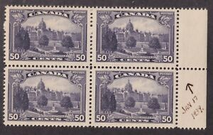 Canada Scott 226i VF MNH 1935 50¢ Parliament Major Re-entry in Block w/ 3 Normal