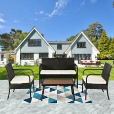 4PCS Outdoor Garden Furniture Set Rattan Wicker Table Sofa Chair w/ Cushion Kit