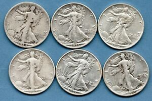 6 X USA SILVER HALF DOLLAR COINS, 1934 - 1940. PHILADELPHIA MINT. JOB LOT.