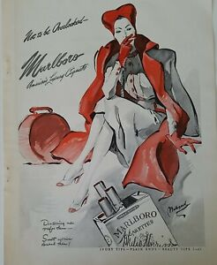 1942 Marlboro cigarettes woman smoking Red Hat luggage Bolegard art vintage ad