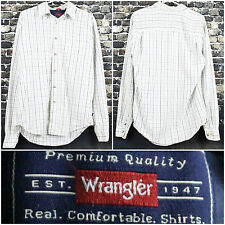 Wrangler L/S Plaid Button Up Polo Shirt Size Small Beige Premium Front Pocket