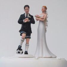 «Love Football Groom & Crossed Bride» Humorous Funny Couple Wedding Cake Topper