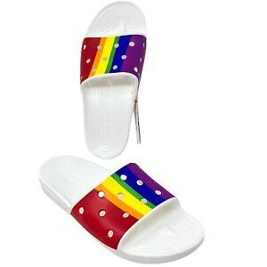 Crocs Classic Crocs Mens 6 Women's 8 Rainbow Stripe Slides 206651-93R Pride NEW