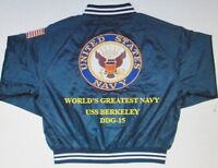USS BERKELEY  DDG-15  NAVY ANCHOR EMBROIDERED 2-SIDED SATIN JACKET