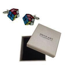 Cufflinks - Metallic Rubix Cube Shaped Cufflinks Onyx-Art CK441
