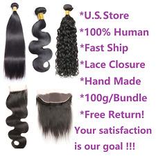 Hair Bundles with Lace Closure 4x4 13x4 100% Brazilian Virgin Human Hair 8A & 9A