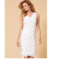 Satin Lined Ivory Lace Fitted Shift Dress With Floral Diamante Cluster Detail