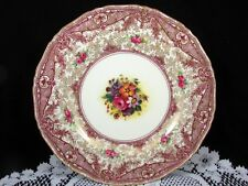 ROYAL WORCESTER HP PINK ROSES FLORAL GOLD GILT CHINTZ  BURGUNDY DINNER PLATE