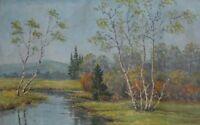 Antique oil painting landscape river signed
