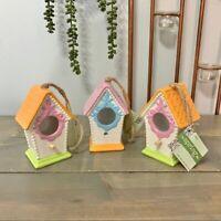 Multicolored Hanging Ceramic Birdhouses Set of 3
