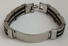 Stainless Steel Bracelet ID Engraving Plate 20.5cm Link + Silver Bag +Free Gifts