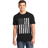 Men's Black/White Vintage FLAG Patriotic American Stars Stripes Graphic T-Shirt