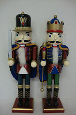 "Lot of 2 Christmas Wooden Nutcracker Nutcrackers, 16"" & 15 7/8""H, Capes, Glitter"