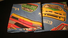 VINTAGE RACE CAR DAYTONA TWIN FLAT TOP  & FITTED  SHEET  FABRIC