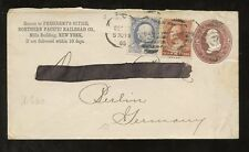 RAILWAY 1885 STATIONERY ENVELOPE USA UPRATED to GERMANY NORTHERN PACIFIC RR